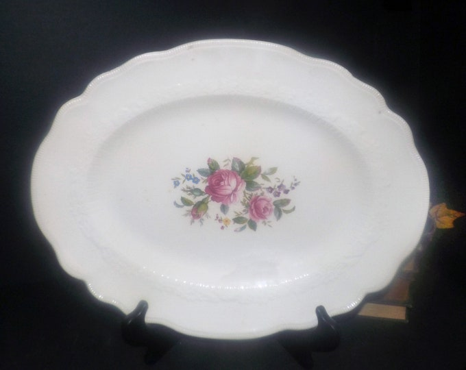 Antique (1910s) Johnson Brothers JB339 oval meat platter made in England.