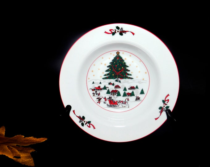 Vintage (1980s) Kopin Christmas Pleasure rimmed soup bowl with red trim. Holiday tableware. Sold individually.