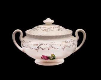 Early mid century British Empire Ware Sovereign Potters Rosebud covered sugar bowl. Florals and filigree.