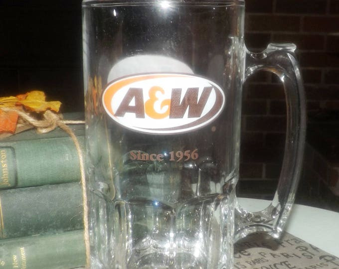 """Vintage (1996) A&W Root Beer large, very heavy glass stein.  Etched logo on both sides and wording """"Since 1956""""."""