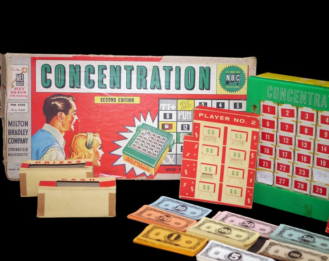 Mid century (1959) Concentration vintage board game 4950 published by Milton Bradley. Second edition. Made in the USA. Complete (see below).