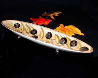 Vintage Tabletops Unlimited   Chino Provincial Olives footed bread tray   bowl. Rustic, hand-painted olives and leaves.