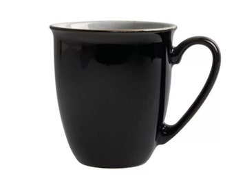 Denby   Denby-Langley Black Pepper stoneware English beaker-style coffee or tea mug. Black with white center.