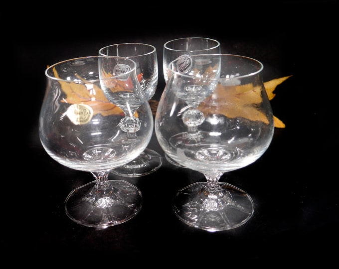 Set of five vintage Bohemia Crystal glasses. Two Diana snifters, three Claudia cordial | liqueur glasses. Made in Czechoslovakia.