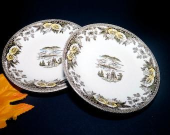 Pair of mid-century Royal China Fairoaks | Fair Oaks orphaned saucers made in USA.