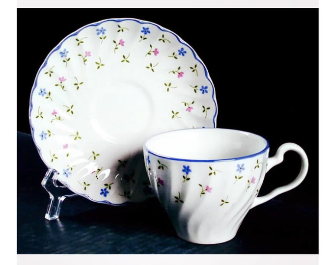 Vintage (1980s) Johnson Brothers Melody cup and saucer set made in England. Sets sold individually.