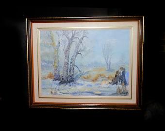Vintage original signed oil on board winter landscape painting by Allan Harrington. Framed.