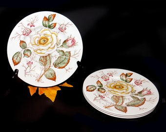 Mid-century John Maddock Old Rose salad or side plate made in England. Sold individually.