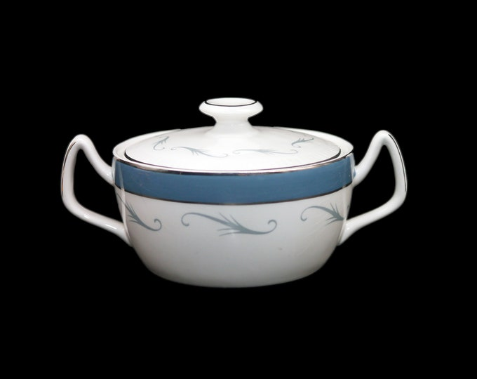 Mid century Simpsons Potters Conway covered sugar bowl. Gray scrolls, blue band, platinum trim. Chinastyle ironstone made in England.
