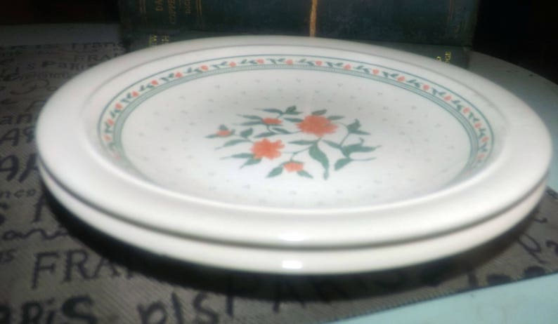 1970s Kiln Craft green dots. Peach flowers Staffordshire Potteries bread-and-butter or side plate Staffordshire Tableware Vintage