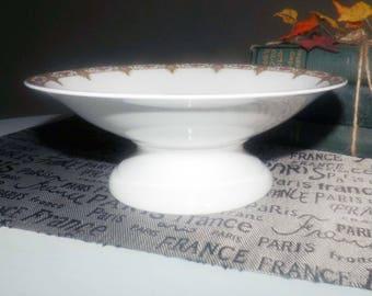 Antique (1870s) Fuisseaux de Baudour | Baudour hand-painted compote | footed bowl. Art-nouveau flourishes.