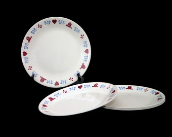 Set of five vintage Corelle Corningware Hometown dinner plates made in the USA. Red hearts, red houses. Flaw (see below).