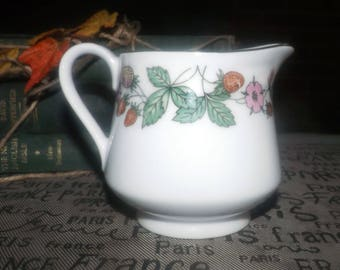Vintage (1980s) Northland | Fine China Japan creamer or milk jug. Pink flowers, strawberries, platinum edge and accents. Made in Japan.