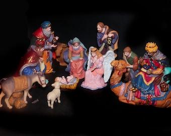Vintage (1990s) Kirkland Signature twelve-piece Nativity Set creche scene. Item 139880. Some repairs required (see below).