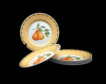 Vintage Churchill China Somerset luncheon plate made in England. Green yellow checks, red cherries. Sold individually.