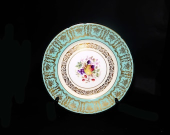 Vintage (1960s) Royal Paragon B144D large dinner plate made in England. Teal with fruit and flowers, gold filigree.
