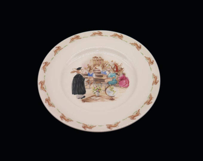 Vintage (1988) Royal Doulton Bunnykins child's salad plate. Bunnies in the classroom. Made in England.