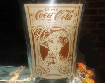 Vintage (1980s) Drink Coca-Cola tumbler glass.  Etched-glass vintage Coke artwork, fluted bowl.