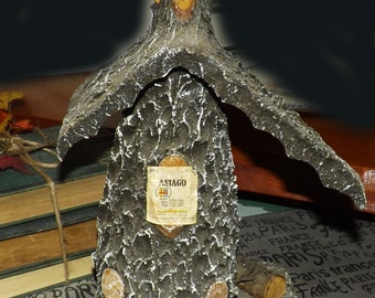 Vintage (1970s) Amaro Asiago Fratelli Rossi bottle. Handmade wood ski chalet, hand-painted ski scene. One of a kind!