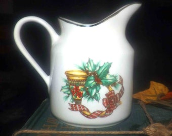 Vintage Sonata Noel creamer or milk jug. Christmas bell, Christmas tartan, holly, gold edge.  Porcelain Christmas tableware.