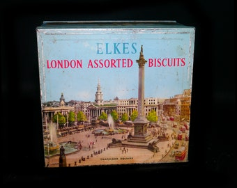 Mid-century Elke's Assorted Biscuits British Landmarks tin made in England.