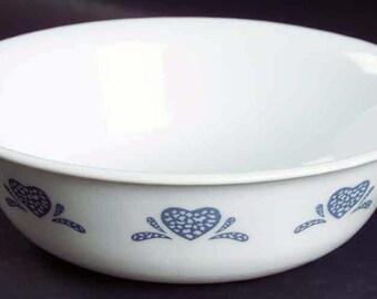 Vintage (1980s) Corelle | Corningware | Corning USA Blue Hearts pattern cereal, soup, salad bowl. Blue sponged border. Made in USA.