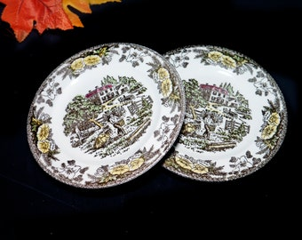 Pair of mid-century Royal China Fairoaks | Fair Oaks bread dessert side plates made in the USA. Minor flaw (see below).