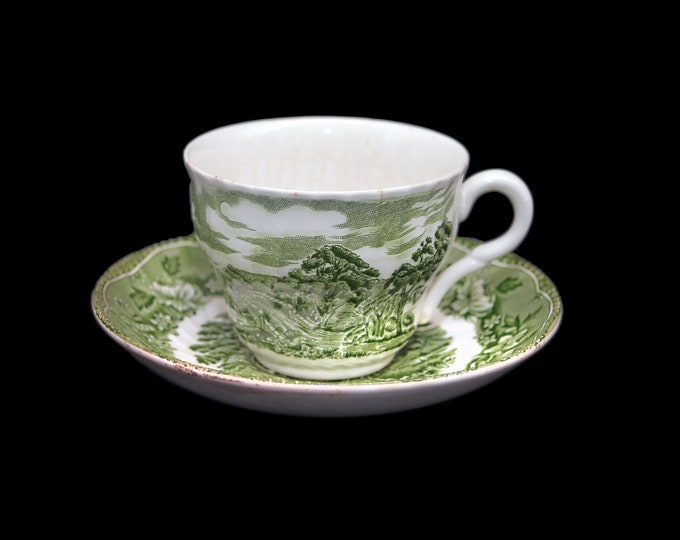 Vintage (1970s) Barratts Staffordshire Old Castle Green transferware cup and saucer set made in England.