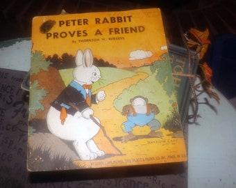 Early mid-century (1940) paperback book Peter Rabbit Proves a Friend.  Thornton W. Burgess. Printed Platt & Munk USA. Complete.