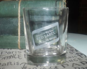 Vintage Johnnie Walker Red Label lo-ball | scotch whisky | on-the-rocks | old fashioned glass.  Etched-glass branding.
