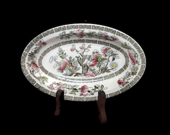 Vintage (1970s) Johnson Brothers Indian Tree gravy boat under-plate or relish dish made in England. Classic Chinoiserie. Flaw (see below).