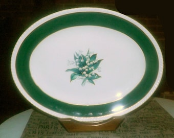 Mid-century Sovereign Potters Sovereign Princess turkey   meat platter.  Lily of the valley. English ironstone decorated in Canada.