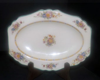 Vintage (1930s) John Maddock & Sons Mount Vernon cranberry tray | gravy under plate in the Minerva shape. Royal Ivory line of ironstone.