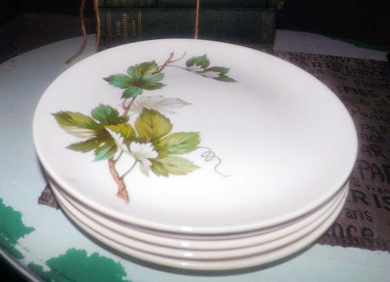 brown branches. British Empire Ceramics Green and white leaves Mid-century Edwin Knowles USA Grapevine pattern dinner plate 1950s
