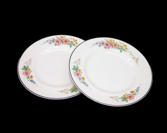 Pair of early mid-century Myott 6028 bread, dessert, side plates made in England. Flaw (see below).