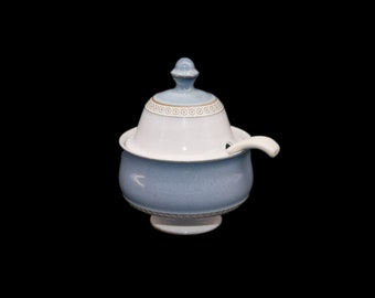 Vintage (1980s) Denby Castile footed stoneware sugar bowl with lid and spoon. Vintage stoneware made in England.