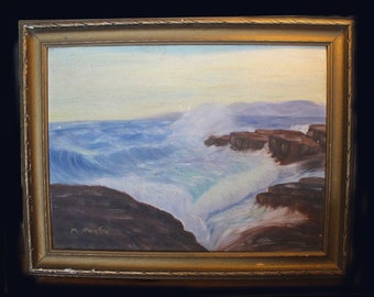Antique (1890s) Thomas Mower Martin original signed oil on canvas painting in a gilt wood frame. Father of Canadian Art.