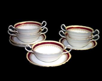 Vintage (1960s) John Aynsley Wendover Maroon bone china cream soup set made in England. Sets sold individually.