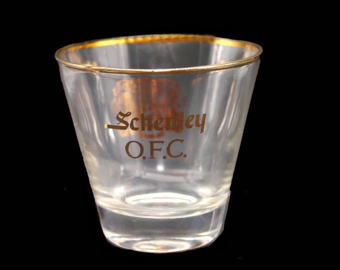 Vintage (1980s) Schenley OFC etched-glass lo-ball, on-the-rocks, old-fashioned, whisky glass. Professional dispensing marks.