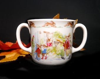 Vintage (1980s) Royal Doulton Bunnykins child's | baby's hug-a-mug double-handled mug. Bunnies go butterfly catching. Gift for baby.