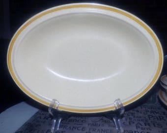 Vintage (1980s) Hearthside Garden Festival oval stoneware vegetable serving bowl. Made in Japan.