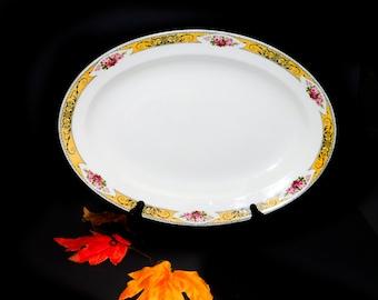Antique (1910s) Grindley Granville art-nouveau large oval meat or turkey platter made in England.