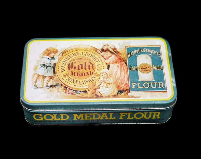 Vintage reproduction Washburn Crosby's Gold Medal Flour oblong tin made by The Tin Box Company. Old Zellers stock.