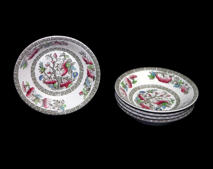Antique art nouveau Johnson Brothers Indian Tree fruit nappie, dessert, sauce bowl. Hand-decorated made in England. Sold individually.