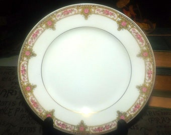 Antique (1870s) Lanternier Limoges LNT103 hand-painted art nouveau bread, dessert, side plate made in France. Sold individually.
