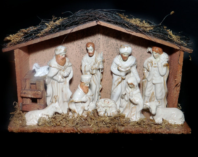 Vintage (1980s) Nativity Set | creche scene. Ten porcelain figures wooden shed thatched roof. Figures are fixed in place. EBCI Imports.