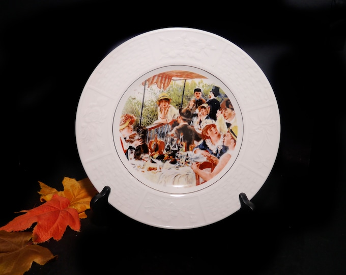 Mid century Wood & Sons decorative wall, display, cabinet plate. The Luncheon Party Pierre Auguste Renoir, creamware rim. Made in England.