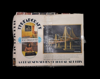 Vintage (1974) Open Door Enterprises String Art Kit Suspension Bridge TC2002. Threadcraft Line Designs made in California. Almost complete.
