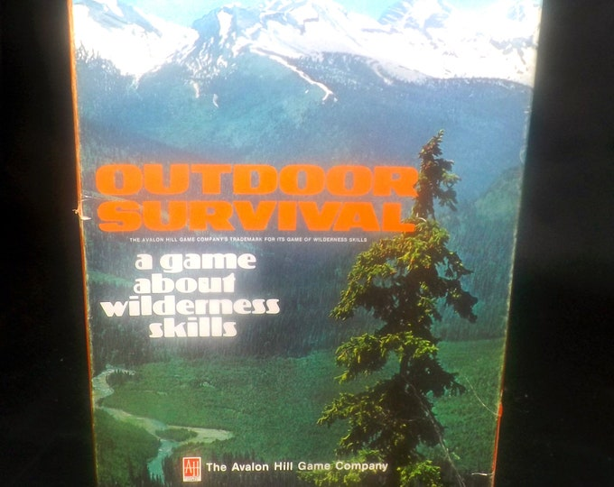 Vintage (1972) Outdoor Survival board game. Wilderness Skills Game. Avalon Hill Bookcase Series. Complete.