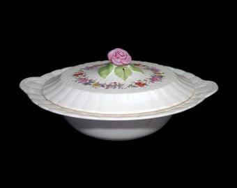 Vintage (1930s) Simpsons Potters SIM6 round covered lugged vegetable serving bowl made in England. Flaw (see below).